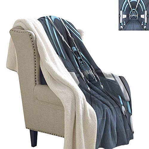 (Sunnyhome Outer Space Blanket Small Quilt 60x32 Inch Fantastic Inner View of Rocket Structure Cyber Hallway Trip to The Dark Matter for Bed/Couch/Chair in Livingroom or Bedroom Gray)