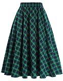 Women's Midi Skirt A-Line 50s Vintage Style Size XL KK633-1,Plaid-1