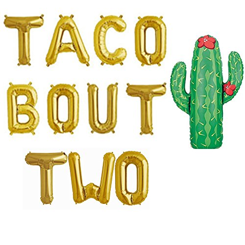 Taco Bout TWO Foil Letter Balloons For Fiesta Theme Second Birthday Party Decorations,Fiesta Cinco De Mayo,CANNOT -