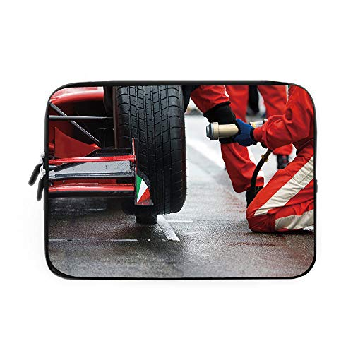 Man Cave Decor Laptop Sleeve Bag,Neoprene Sleeve Case/Professional Racing Team at Work Pit Stop Racecar Fast Tyre Changing Image/for Apple MacBook Air Samsung Google Acer HP DELL Lenovo AsusM