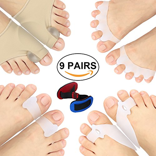 Bunion Corrector, Toe Splint and Bunion Relief Protector Sleeves Kit for Cure Pain in Big Toe Joint, Tailors Bunion, Hallux Valgus, Hammer Toe, Toe Separators Spacers Straighteners Splint Aid Surgery