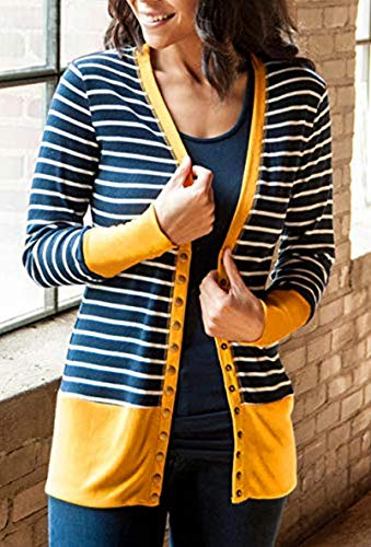 RichCoco Women's Striped Button Down Open Front Long Sleeve Contrast Color Casual Cardigans Sweaters (Mustard, L)
