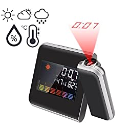 Digital Projection Alarm Clock with LED Backlight & Snooze Display Temperature/Day/Date/Hygrometer/Humidity 12 Hour & 24 Hours (Black)