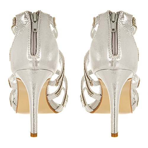 Donna Shoes toe Silver Diva Miss Peep FIwqv6Bwz