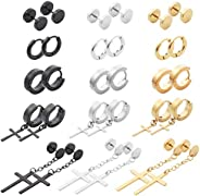 NEWITIN 15 Pairs Stainless Steel Cross Earrings Studs Hoop Earrings Hinged Dangle Cross Earrings for Men and W