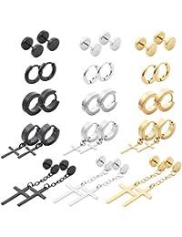 15 Pairs Stainless Steel Cross Earrings Hinged Earrings Cross Dangle Hoop Cross Earrings for Men and Women