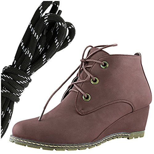 DailyShoes Womens Fashion Lace Up Round Toe Ankle High Oxford Wedge Bootie, Black White Brown Pu