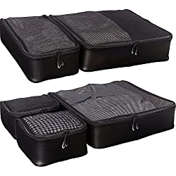 eBags Ultralight Packing Cubes - Super Packer 5pc Set (Black)