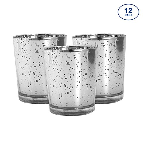 Royal Imports 12 Silver Candle Holder Glass Mercury Speckled Votive for Wedding, Home Decor, Set (Unfilled) by Royal Imports