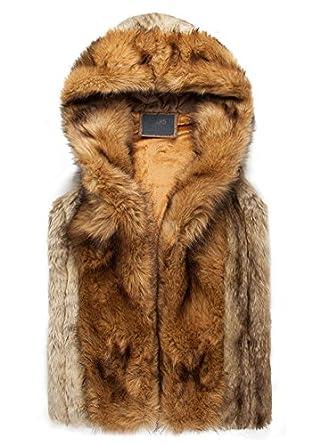 Idopy Men`s Luxury Faux Fur Hoodie Coats Sleeveless Jacket