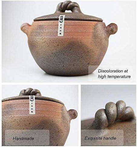 LIUSHI Pot en Argile émaillée Naturelle Casserole Ronde avec Couvercle Casserole Fait Main Vintage Pot en Argile Pot à Soupe Saine Mijoteuse en Terre Cuisinière Green 5L