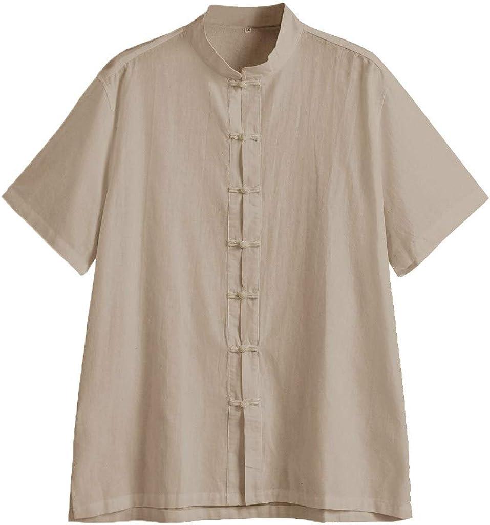 Magliette da Uomo Sportive Beikoaed Camicia in Cotone Tinta Unita in Cotone Lavato da Uomo Camicia