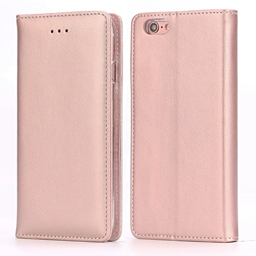 iPhone 6S Plus Leather Case, IPHOX Premium Folio Leather Wallet Case with [Kickstand] [Card Slots] [Magnetic Closure] Flip Notebook Cover Case for iPhone 6/6S Plus (Rose Gold/E)