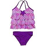 So Sydney Girls' Two Piece Tankini Swimsuit Bathing Suit (12, Mermaid)