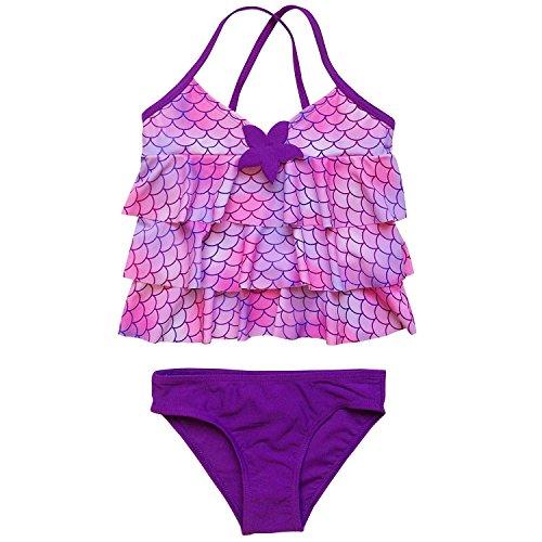 Girls 2 Piece Tankini - So Sydney Girls' Two Piece Tankini Swimsuit Bathing Suit (4/5, Mermaid)