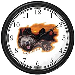 Utah Icons - Grizzly Bear, Rock Formations Stone Bridge, Petrographs - American Theme Wall Clock by WatchBuddy Timepieces (Black Frame)