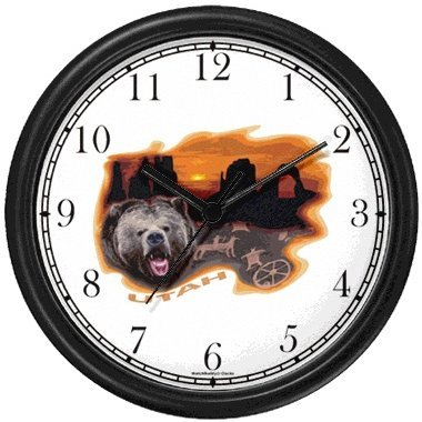 - Utah Icons - Grizzly Bear, Rock Formations Stone Bridge, Petrographs - American Theme Wall Clock by WatchBuddy Timepieces (Black Frame)