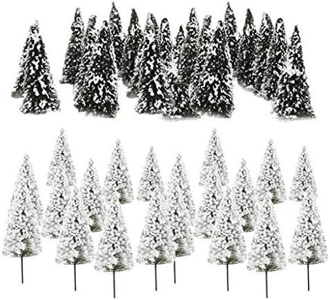 P Prettyia 樹木 模型 モデルツリー 鉄道模型 杉の木 白い花 風景 モデル ジオラマ 建築模型 電車模型 約20個