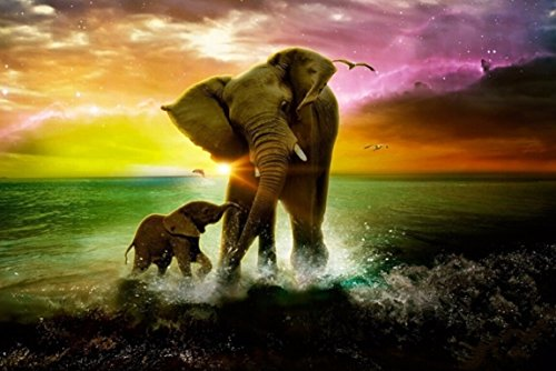 Yumeart 5D DIY Diamond Painting Kits Diamond Embroidery The Elephant Cross Stitch Handmade Crafts 30x40cm(12x16