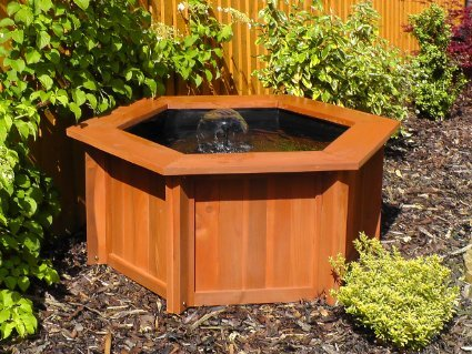 RAISED HEXAGON WOODEN GARDEN / PATIO WATER FISH POND
