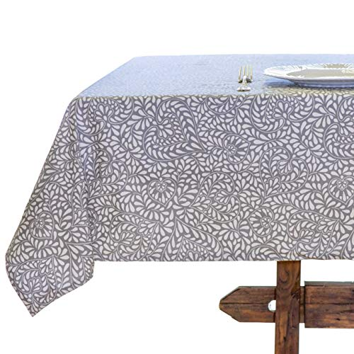 "Amelie Michel Wipe-Clean French Tablecloth in ""Courmayeur Grey"" 