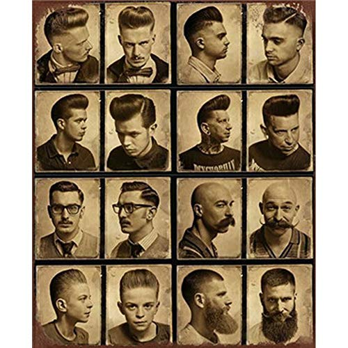 Easy Painter Retro Metal Tin Signs Metal Painting Antique Iron Poster Barbershop Bar Pub Wall Art Sticker - Man Hairstyle 20X30Cm -