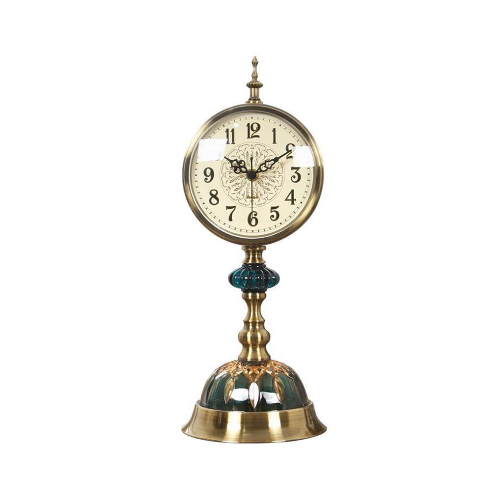 ZAZAZA Health UK Clock- Clock American Retro Ice Cracked Ceramic Table Clock Mute Creative Copper Desktop Clock Classical Sitting Bell Welcome