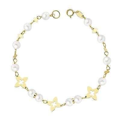 détaillant en ligne edc29 03cd8 Bracelet Lili or 18 carats avec perles - Mi Communion Fille ...