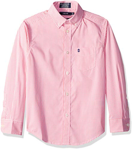 Izod boys Long Sleeve Gingham Button-Down Dress Shirt, Confetti, Medium(10/12)