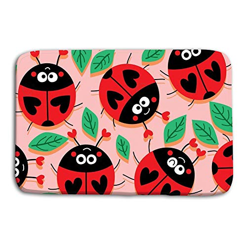 - Yugfhj Doormat Indoor Outdoor Ladybug Love Cute Seamless Pattern Illustration Design Drawing Leaves Decoration Pink Orange Warm Style Colors mat