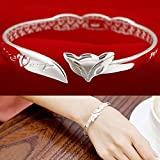 by lucky Bangle Chain Bracelet New Women Jewelry 925 Sterling Silver Fox Cuff Charm
