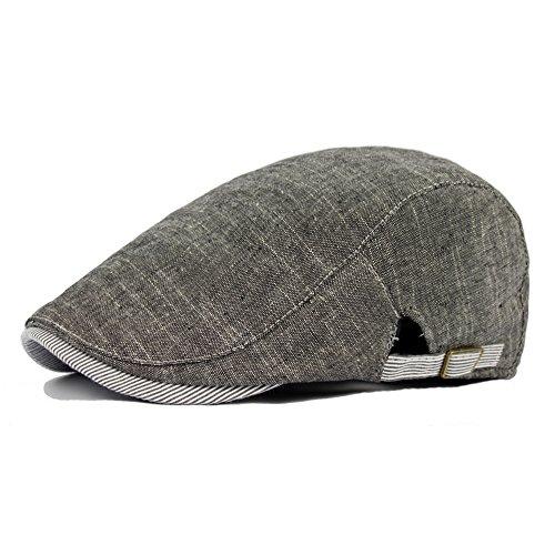 Men Vintage Cowboy Retro Cotton Cap Duckbill Beret Sunhat Casual Hip Hop Hat (Dark Grey)