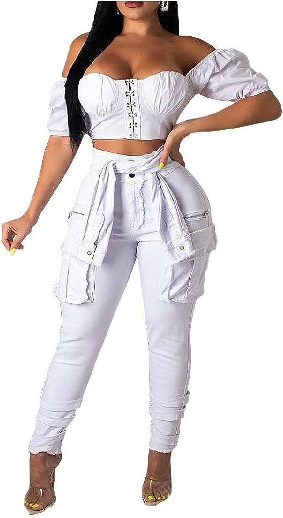 Romancly 女性デニム高ウエストファッションレースアップ詳細セクシーアンクルジーンズ