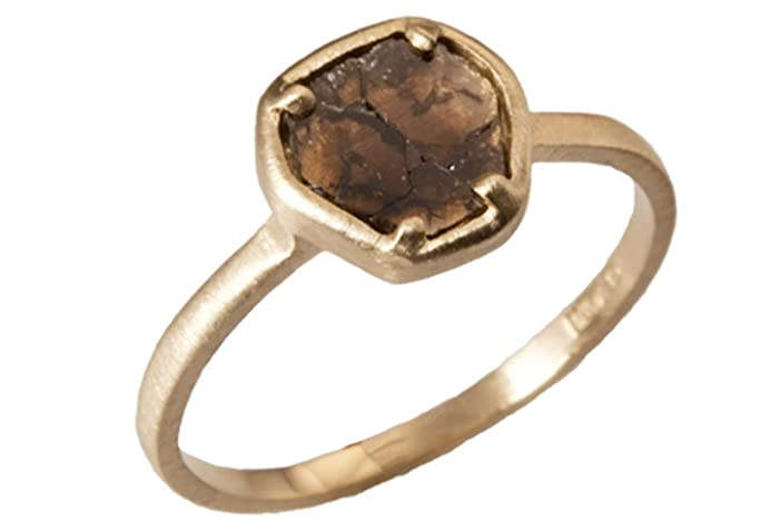 313273c20ccac Amazon.com: Natural Mocha Brown Diamond Slice Ring, 14kt Yellow Gold ...