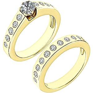 1.8 Carat G-H I2-I3 Diamond Engagement Wedding Anniversary Halo Bridal Ring Set 14K Yellow Gold