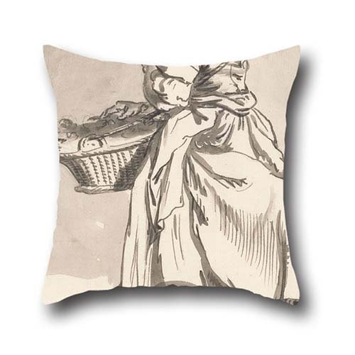 Pillow Cases Of Oil Painting Paul Sandby - London Cries- Flowers,for Him,boy Friend,son,kids Girls,club,gril Friend 16 X 16 Inch / 40 By 40 Cm(2 -