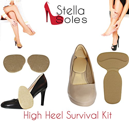 High Heel Survival Kit by StellaSoles Includes Adhesive Blister Blocking Protection for Heel & Anti-Slip Front Foot Gel Foot Pad (Tan (Sole Survival Kit)