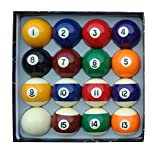 Aska Billiards Pool Boston Numbered Balls Set, 16 Balls Including a Cue Ball, 2 1/4 inch