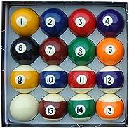 Aska Billiards Pool Boston Numbered Balls Set, 16 Balls Including a Cue Ball, 2 1/4 inch