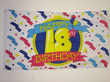Az Flag Bandiera Buon Compleanno 18 Anni 150x90cm Bandiera Auguri