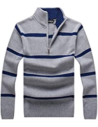 Men's Casual Striped Polo Sweaters Slim Fit Pullover with Mock Neck