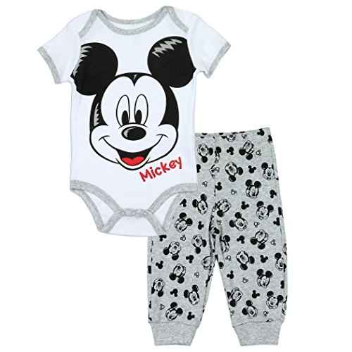 Disney Baby Mickey Mouse 2 Piece Onesie Creeper Pant Set (0/3 Months)