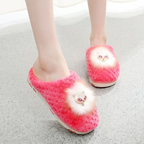 KNTOUDX Women Cute Soft Fox Diamante Slip On Warm Antiskid Slippers Red 1gcUX