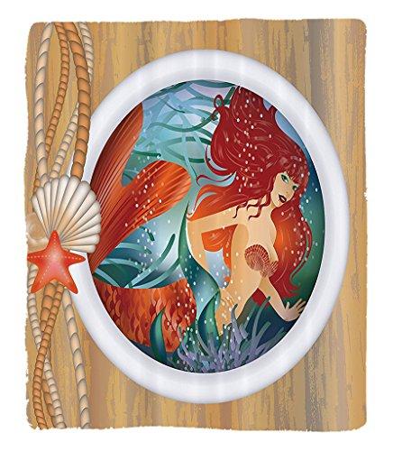 Chaoran 1 Fleece Blanket on Amazon Super Silky Soft All Season Super Plush Mermaid Decor Collection Mermaid in Porthole Window Aquatic Cockleshell Mythology Yacht Image Fabric et Cream Tealienna by chaoran