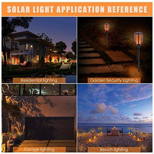 GEEETECH Luci Giardino Solari, lampada a 96 led ad energia solare con effetto fiamma per decorazione per giardino, , impermeabile IP65 (2 pezzi)