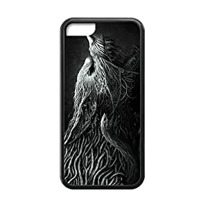 Custom Retro Deer Wolf Pattern Plastic Hard Case for iPhone 5C