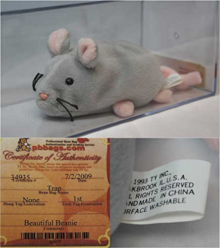Trap Mouse Authenticated - Rare Mint, no ear tag - Ty Beanie Baby (Babies Beanie Rare Ty)