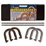 Champion Sports Classic Horseshoe Set: Traditional Outdoor Lawn Game includes Four Professional Solid Steel Horseshoes with Solid Steel Stakes & Carrying Case