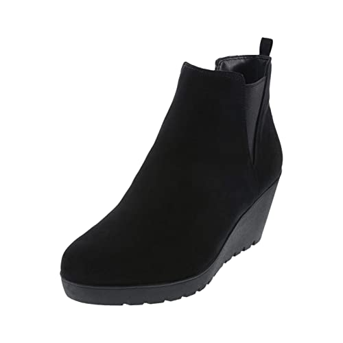 637c97d7d8f3 dexflex Comfort Black Women s Selma Comfort Wedge Boot 5 Wide