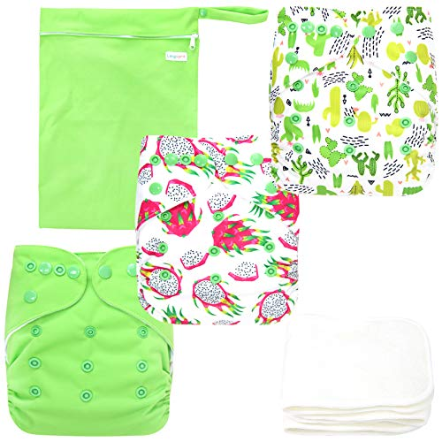 Langsprit Baby Cloth Diaper with Highly Absorbent Bamboo Inserts & Wet Bag,Reusable Unisex Baby Diapers,Baby Shower Gift (Plant)